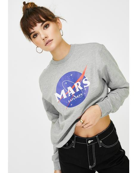 Mars Explorer Graphic Crewneck Sweater