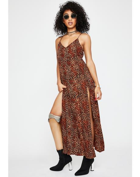 Ditsy Leopard Orange Hime Maxi Dress