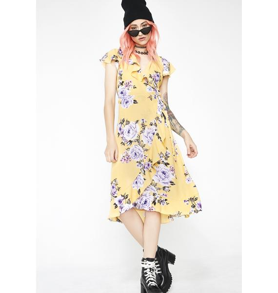 Sweet Sunflower Floral Wrap Dress