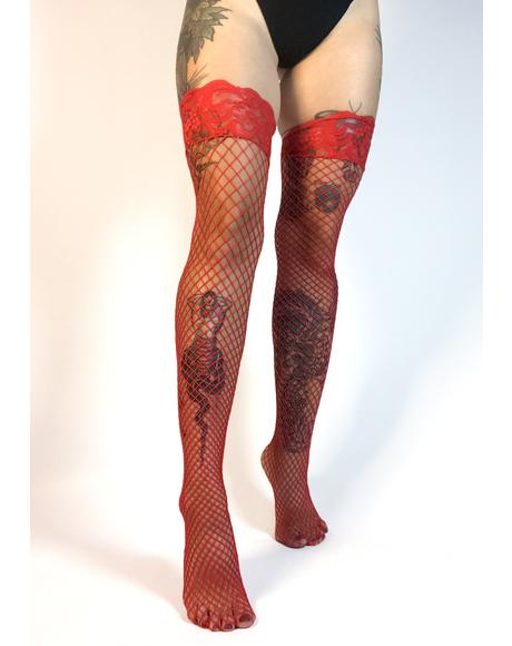 Cherry Mamasita Fishnet Thigh Highs