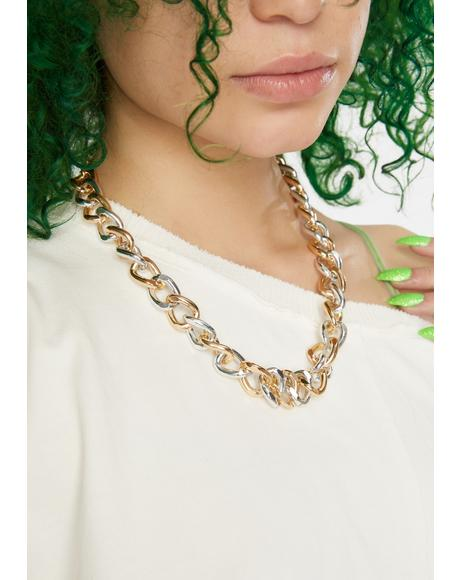 Change Things Up Mixed Metal Chain Necklace