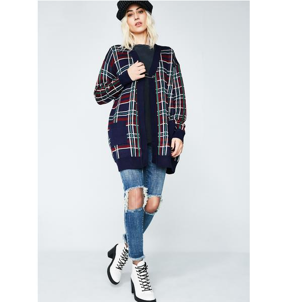 Current Mood Wreak Havoc Plaid Cardigan