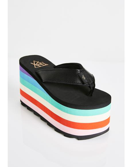 Pixi Rainbow Platform Sandals