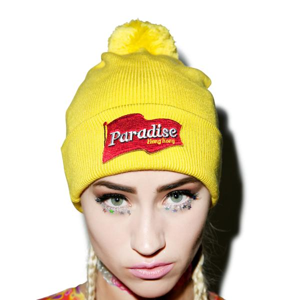 Mustard Pom Pom Beanie