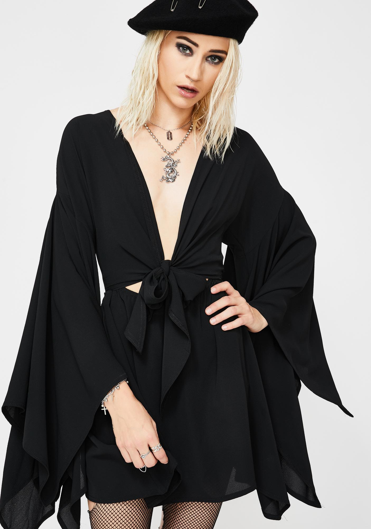 NEW GIRL ORDER Black Bell Sleeve Mini Dress