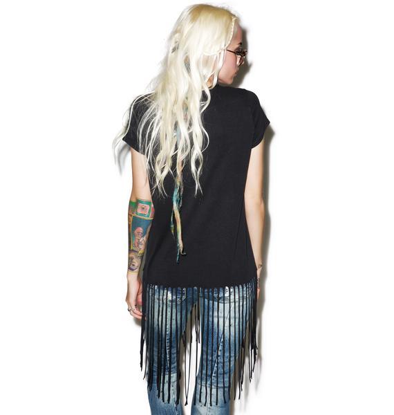 Lauren Moshi Sage Short Sleeve Fringe Tee