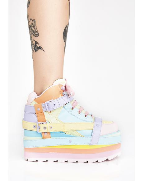 Pastel Qozmo Bondage Platform Sneakers
