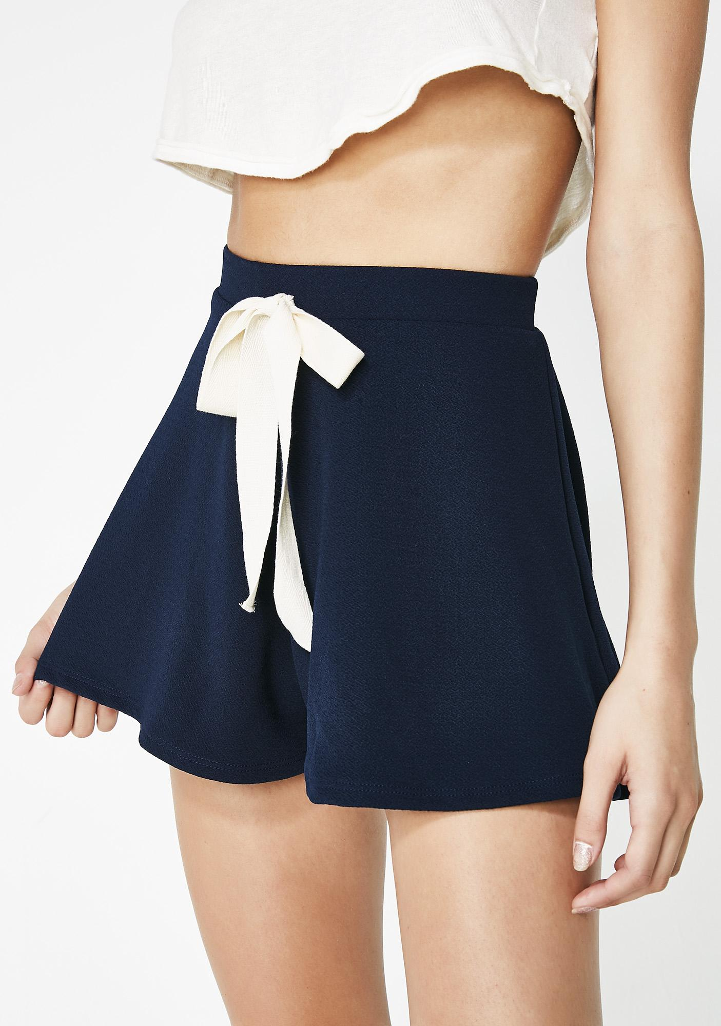 Smooth Waters Tie Front Shorts