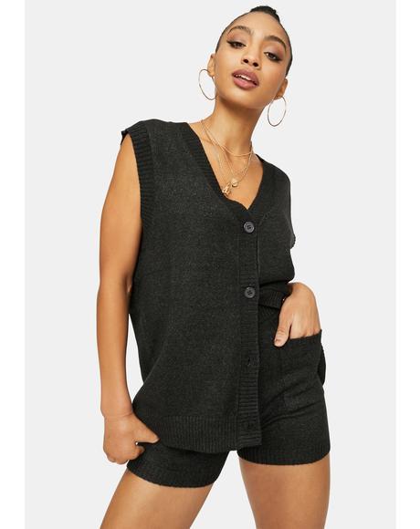 Chic Academia Sweater Vest Set