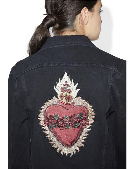 Heart Of Roses Denim Jacket