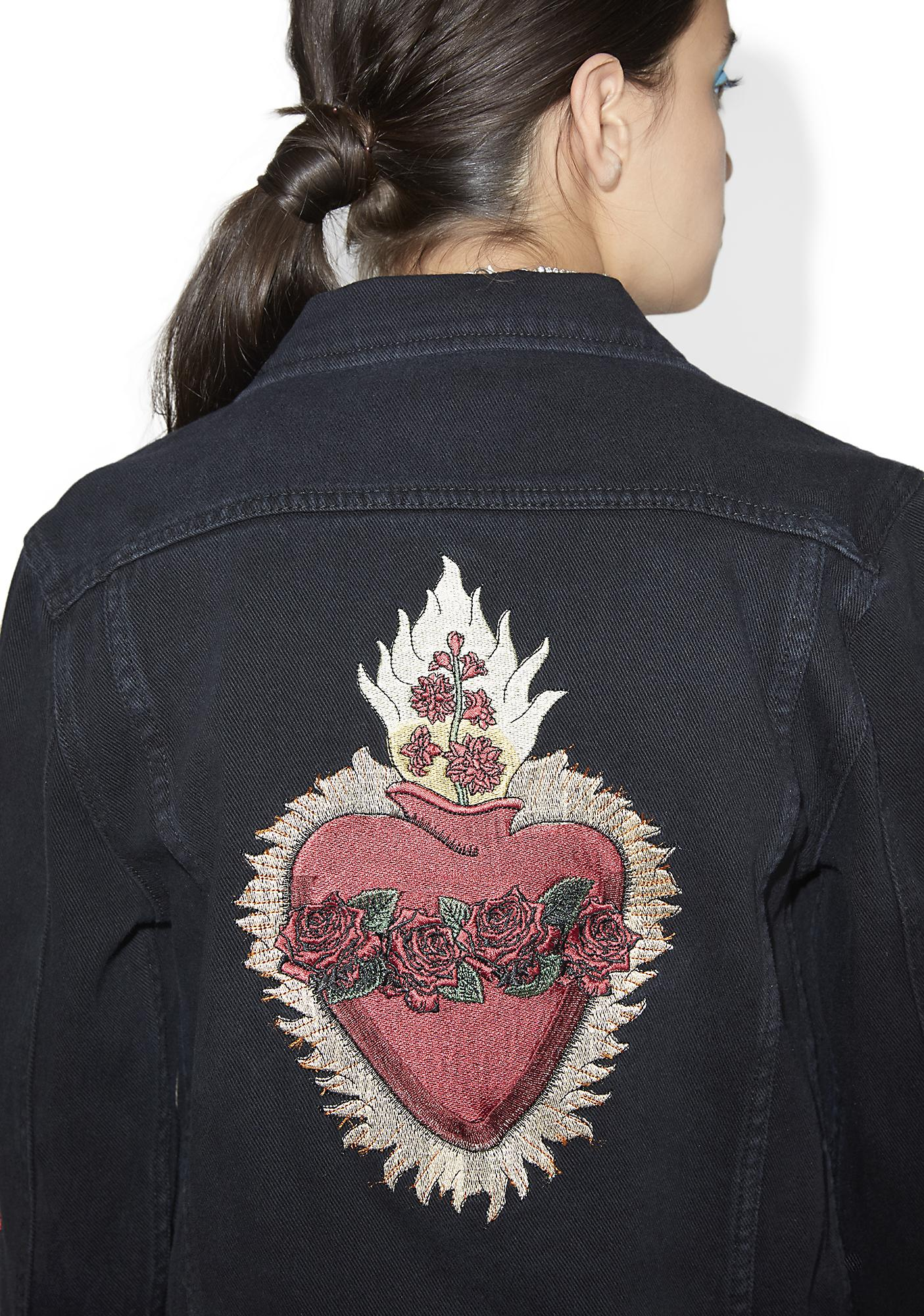 Nana Judy Heart Of Roses Denim Jacket