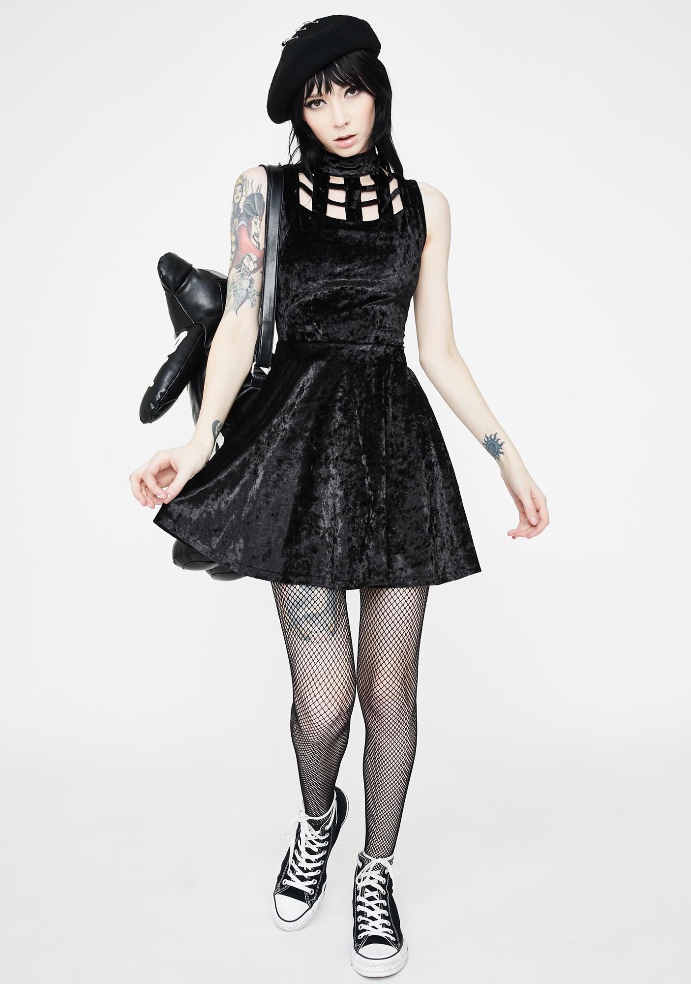 Jawbreaker Velveteen Dream Caged Neck Mini Dress