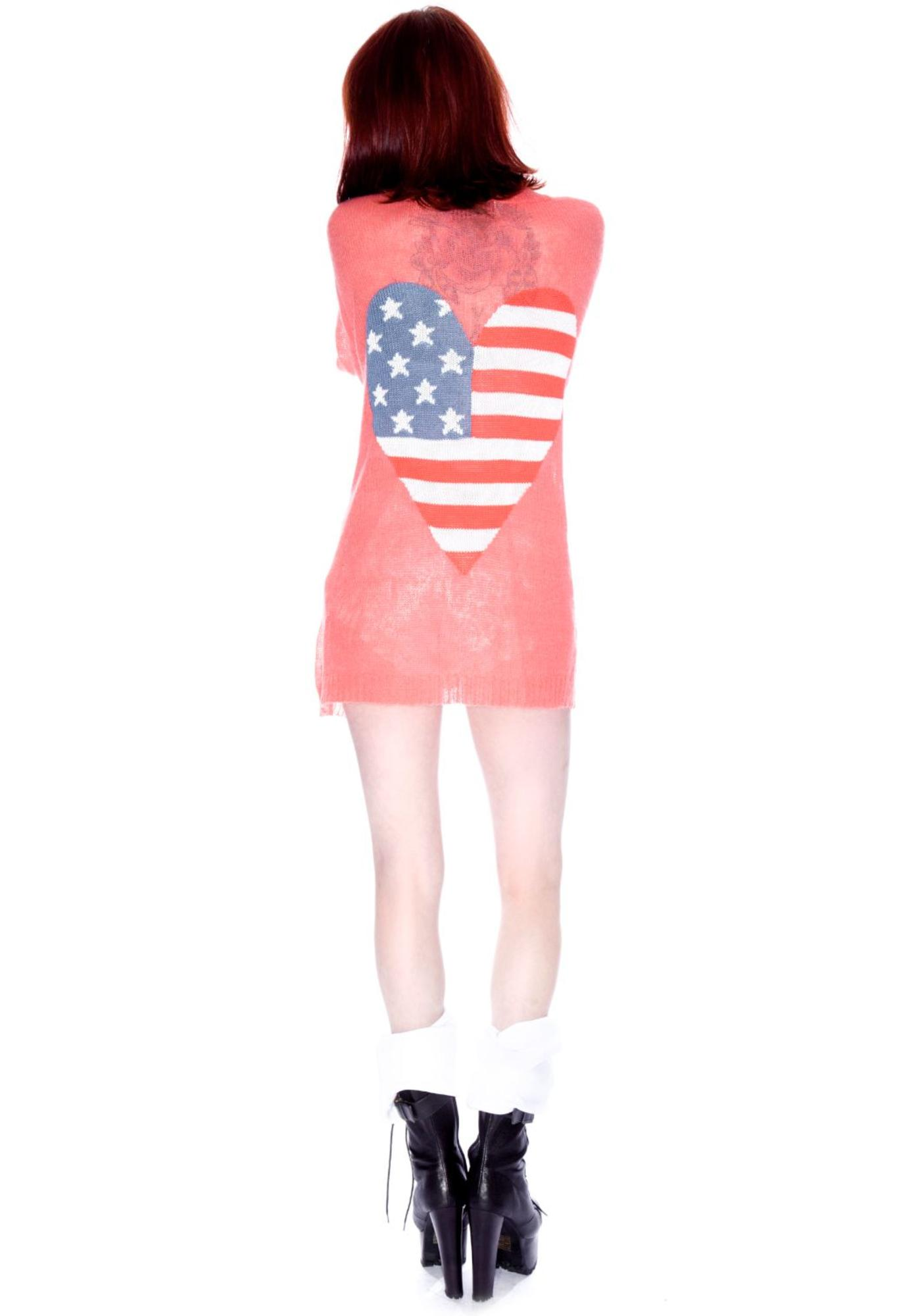 Wildfox Couture American Heart Manhattan Cardigan