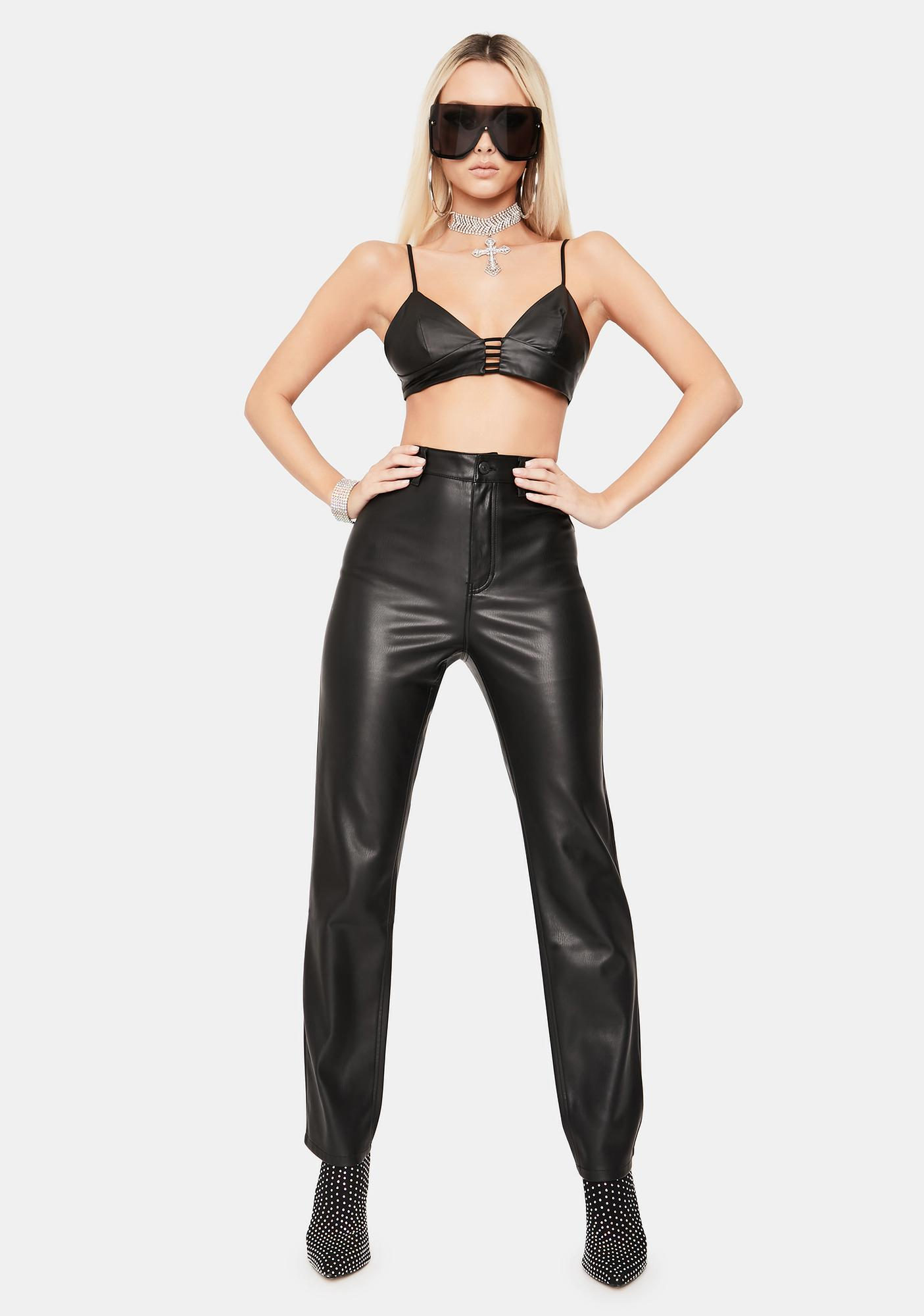 Hardcore Cutie Vegan Leather Bra Top