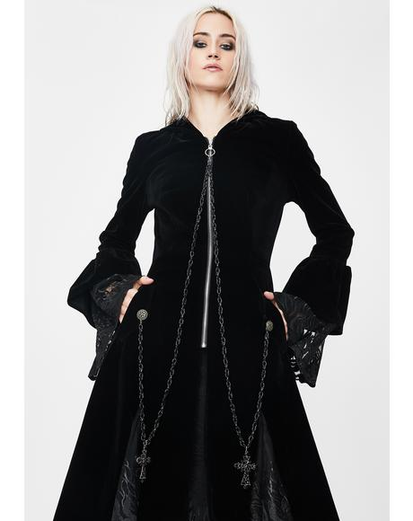 Mysterious Cross Hooded Velvet Coat