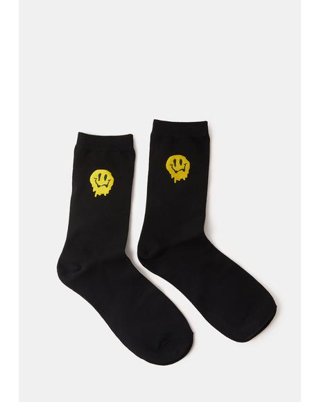 Make You Melt Drippy Face Crew Socks