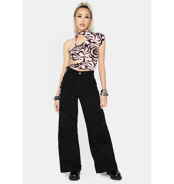 Defy Abstract Feelings Cut-Out Top