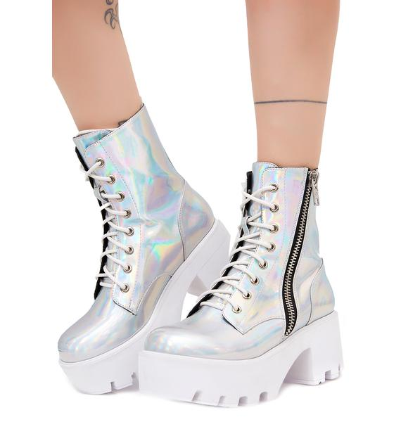 Current Mood Chiller Holographic Platform Boots
