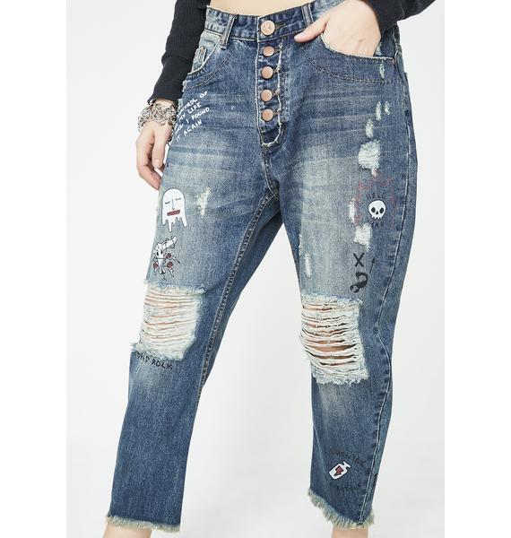 One Teaspoon Tour De Force Eagles Cropped Boyfriend Jeans