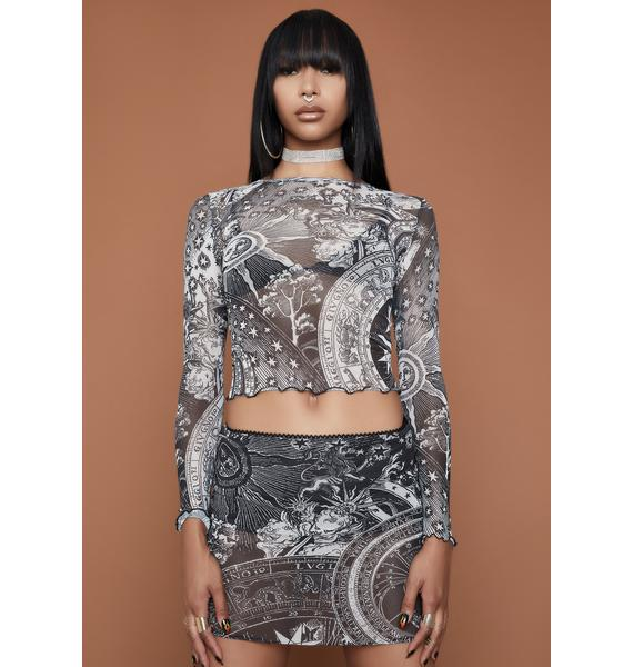 HOROSCOPEZ On The Rise Mesh Crop Top