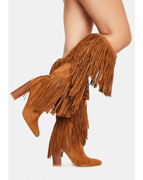 Camel Premium Fringe Boots