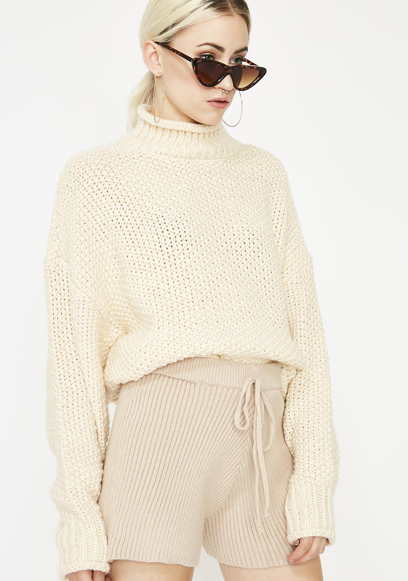 Latte Sweater Weather Knit Shorts