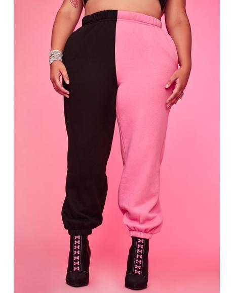 Bubblegum Luxe Slacker Squad Two Tone Sweatpants