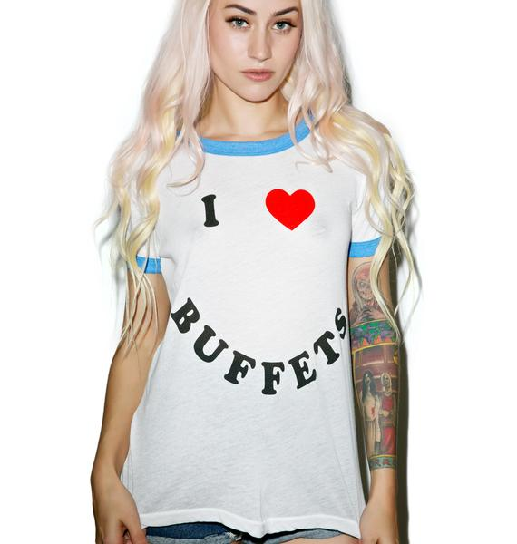 Wildfox Couture I Heart Buffets Vintage Ringer Tee