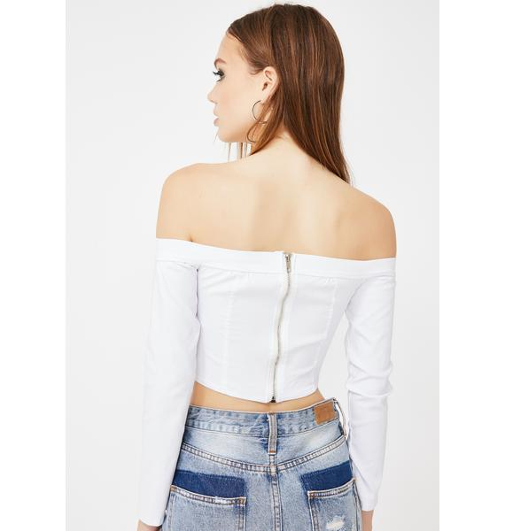 Momokrom White Corset Off The Shoulder Top