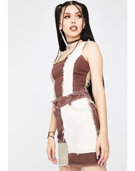 Brown Patchwork Denim Mini Skirt