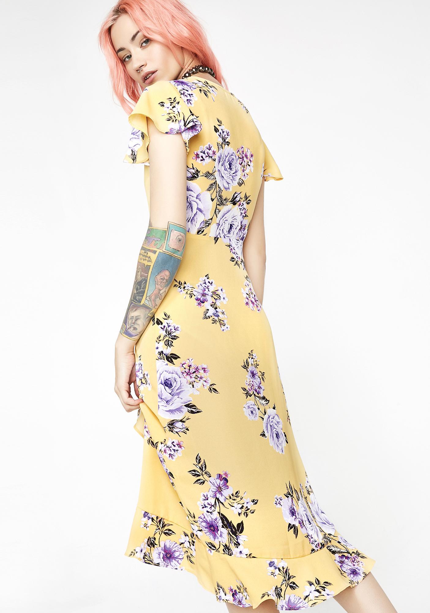 Sweet Sunflower Floral Wrap Dress