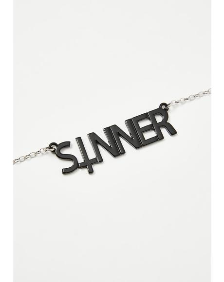 First Name Sinner Necklace