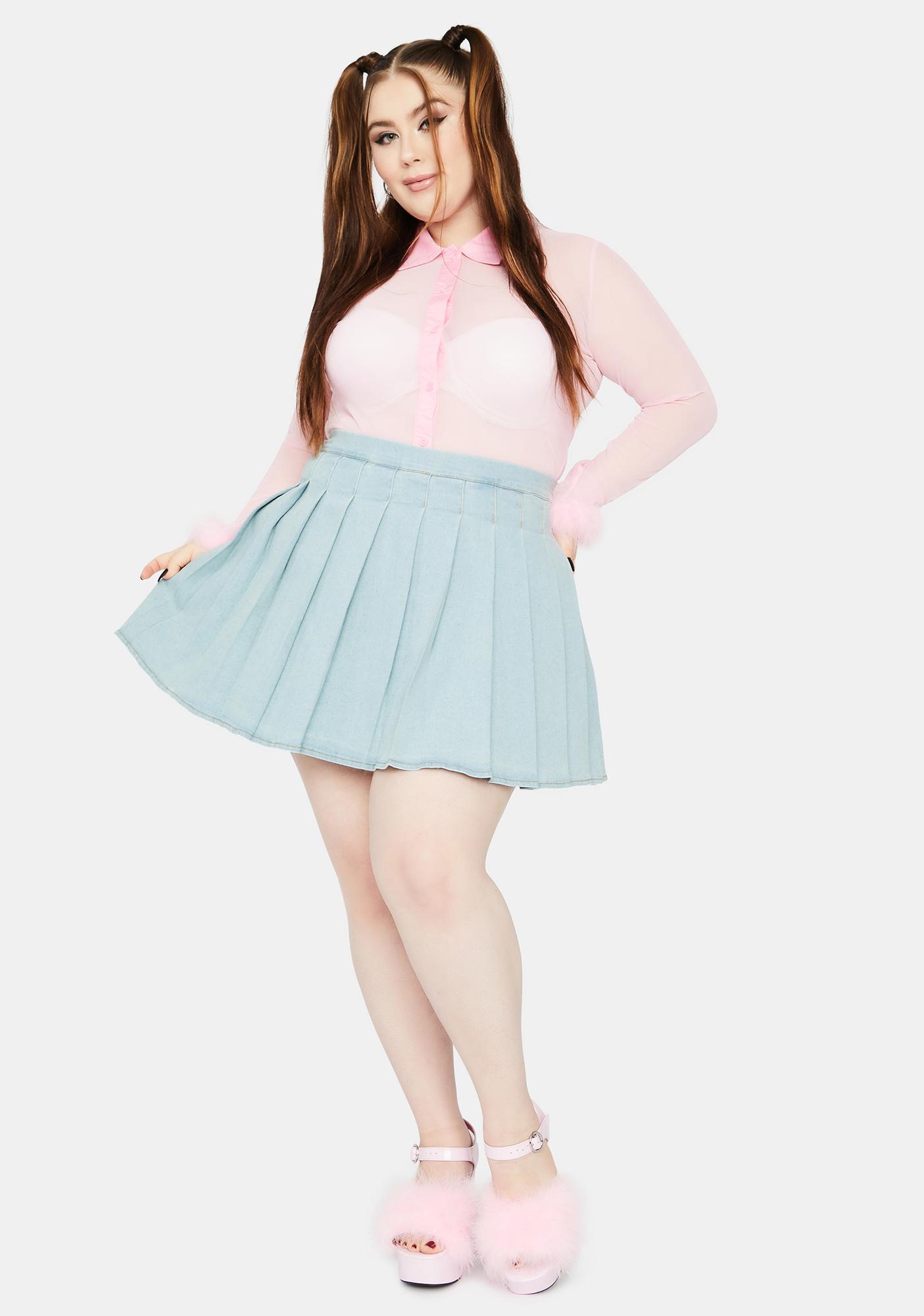 Always Daring Denim Pleated Skirt