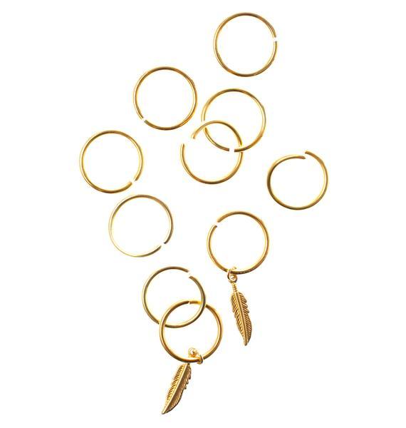 Regal Rose Aeon Feather Hair Rings