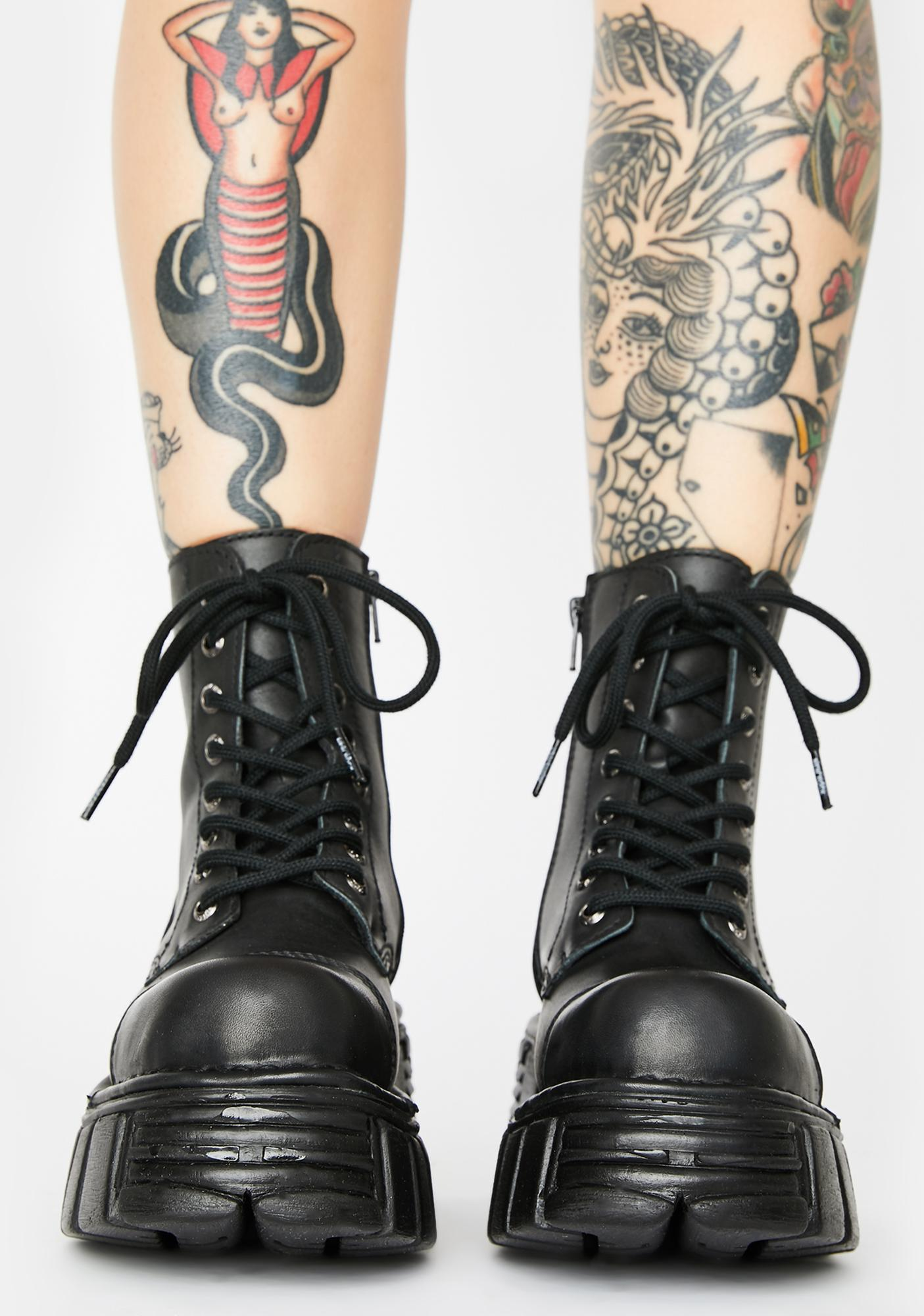 New Rock Knife Combat Boots