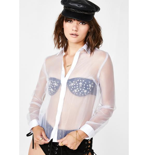 Icy Sheer Fantasy Button-Up Top
