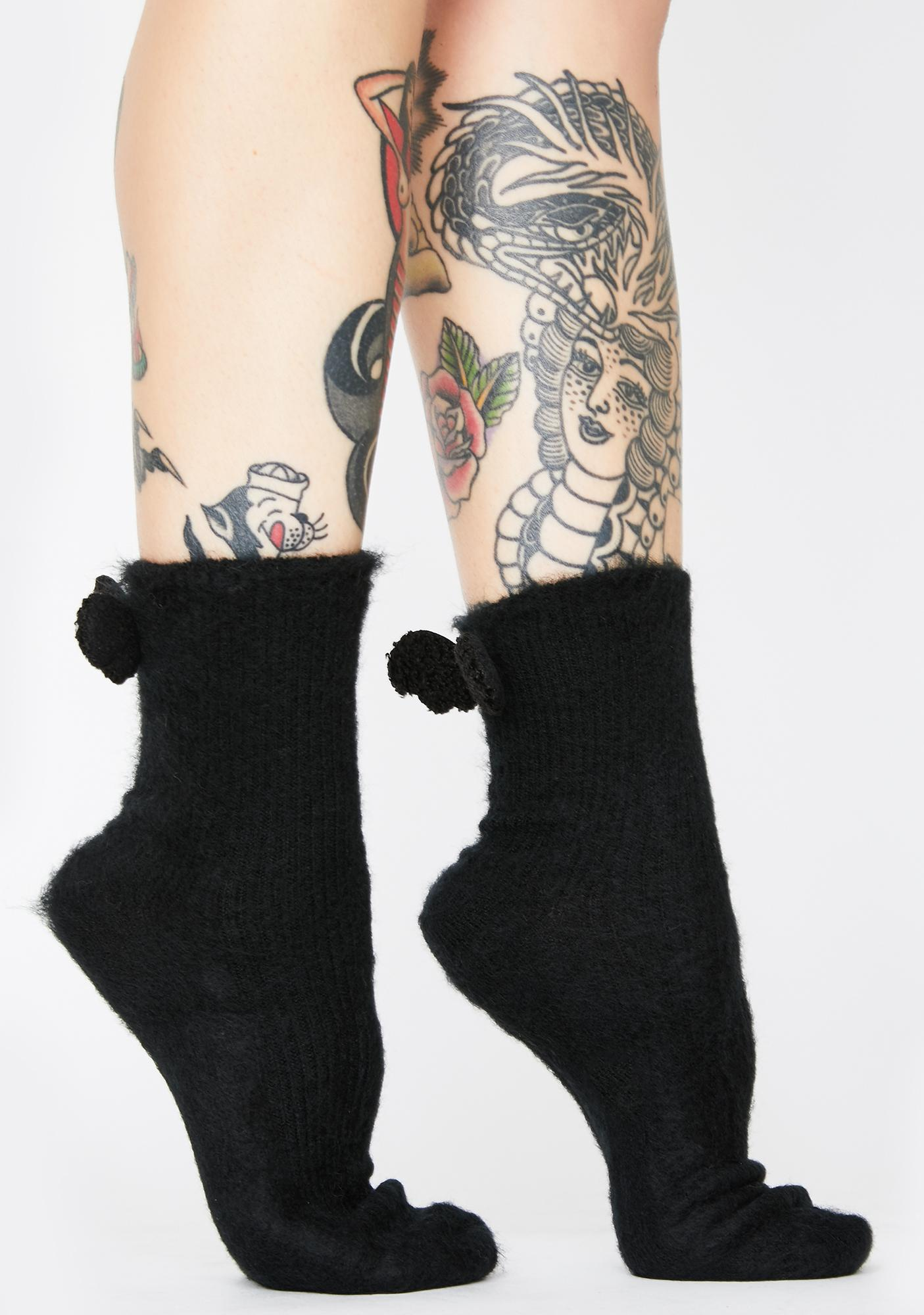 Dark Love Angel Fuzzy Socks With Wings