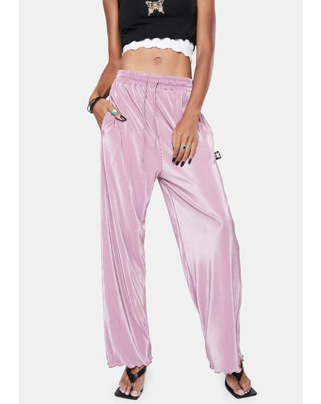 Pink Pleated Wide Leg Pants