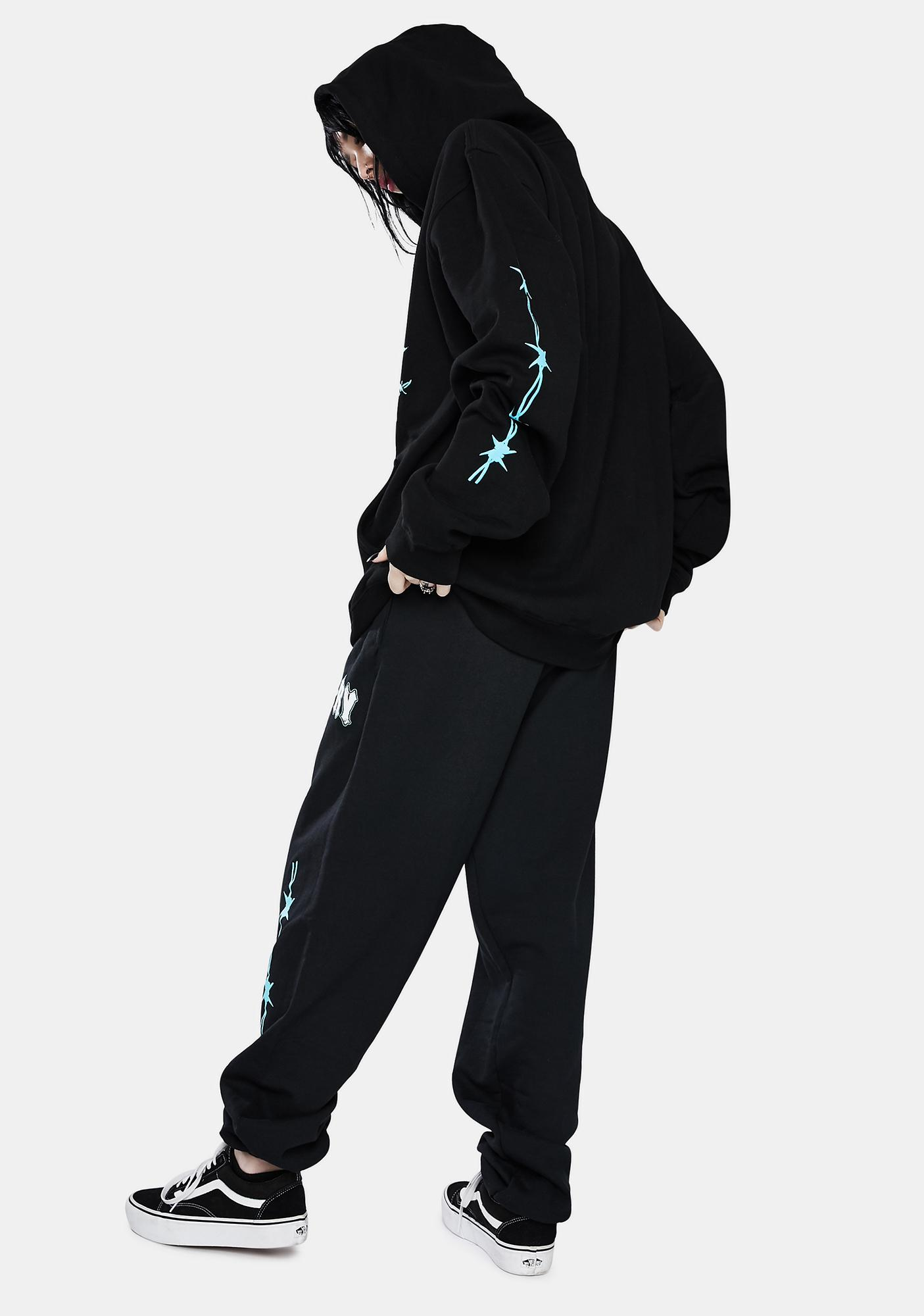 Misery Worldwide Black N Blue Triple Rip Sweatpants