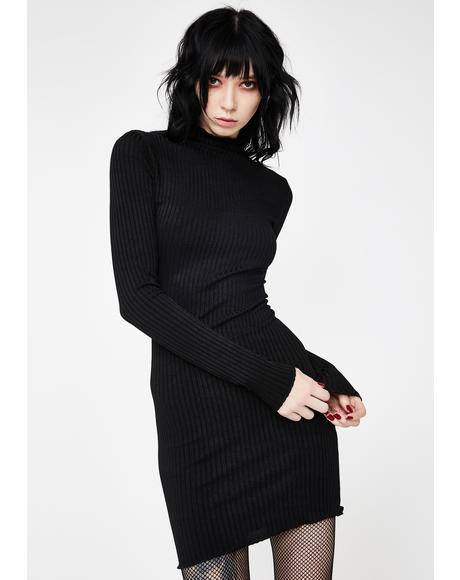 Dark Vows Ribbed Dress