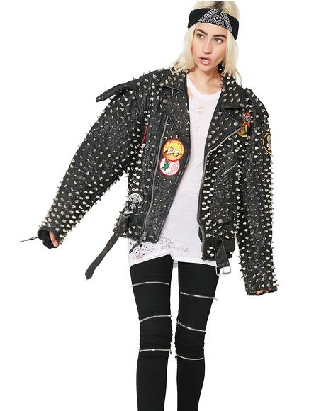 Vintage Overkill Studded Leather Jacket