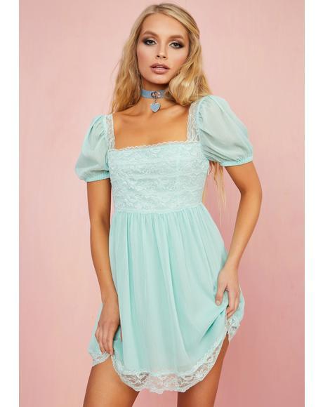 Honeydew Pucker Babydoll Dress