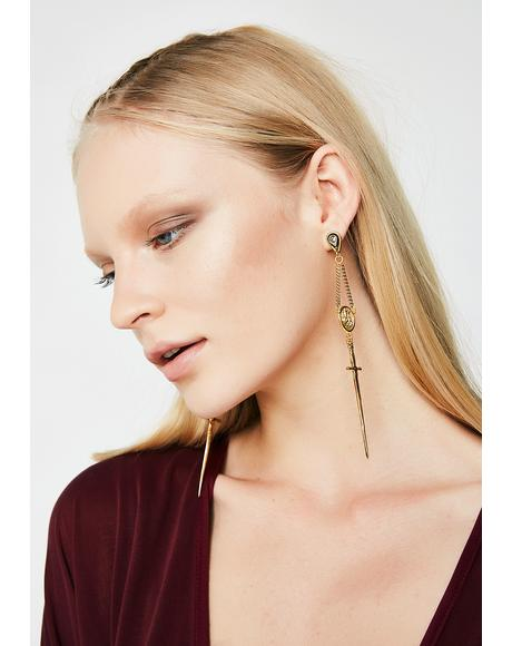 The Gold Amparo Rosary Earrings