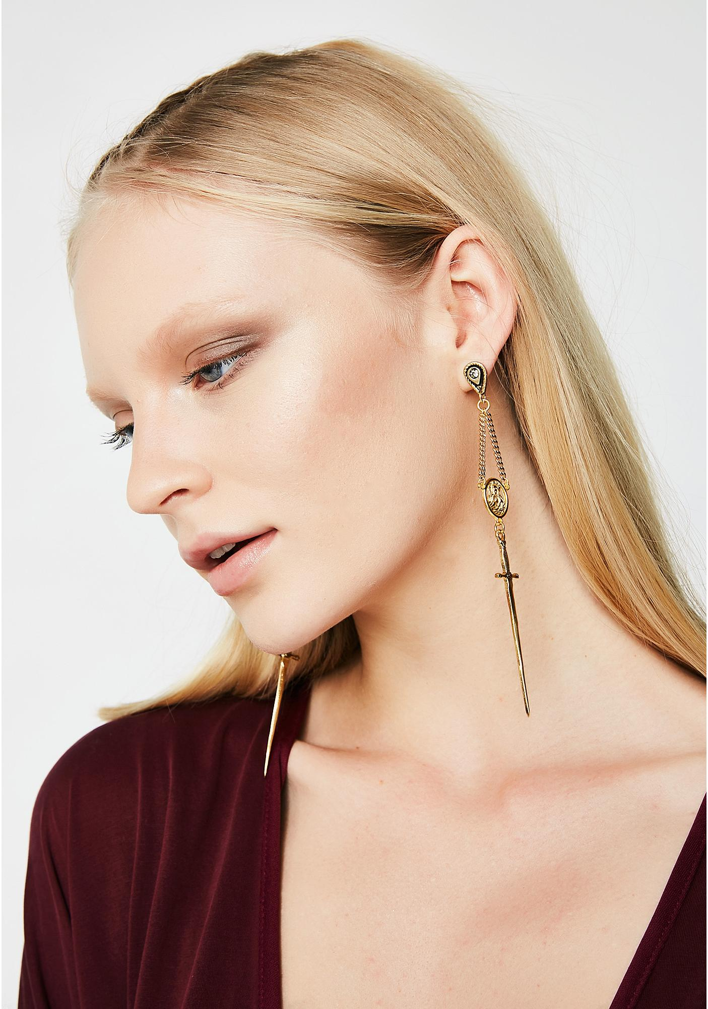 Vanessa Mooney The Gold Amparo Rosary Earrings