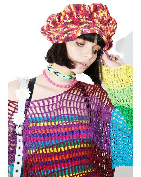 Vintage Crochet Wool Beret