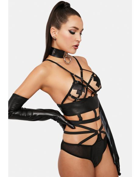 Sweet Release Faux Leather Lingerie Set