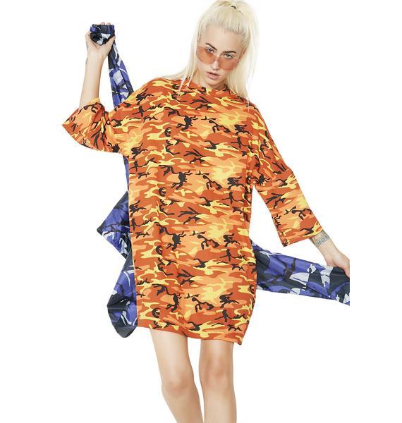 The Ragged Priest Orange Camo Dress
