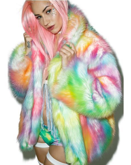 Rainbow Flashing Lights Midi Jacket