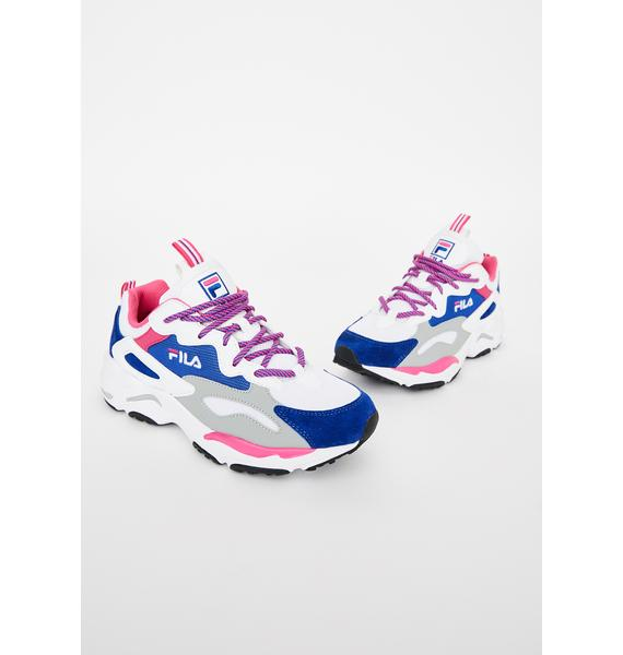 Fila White N Blue Ray Tracer Sneakers