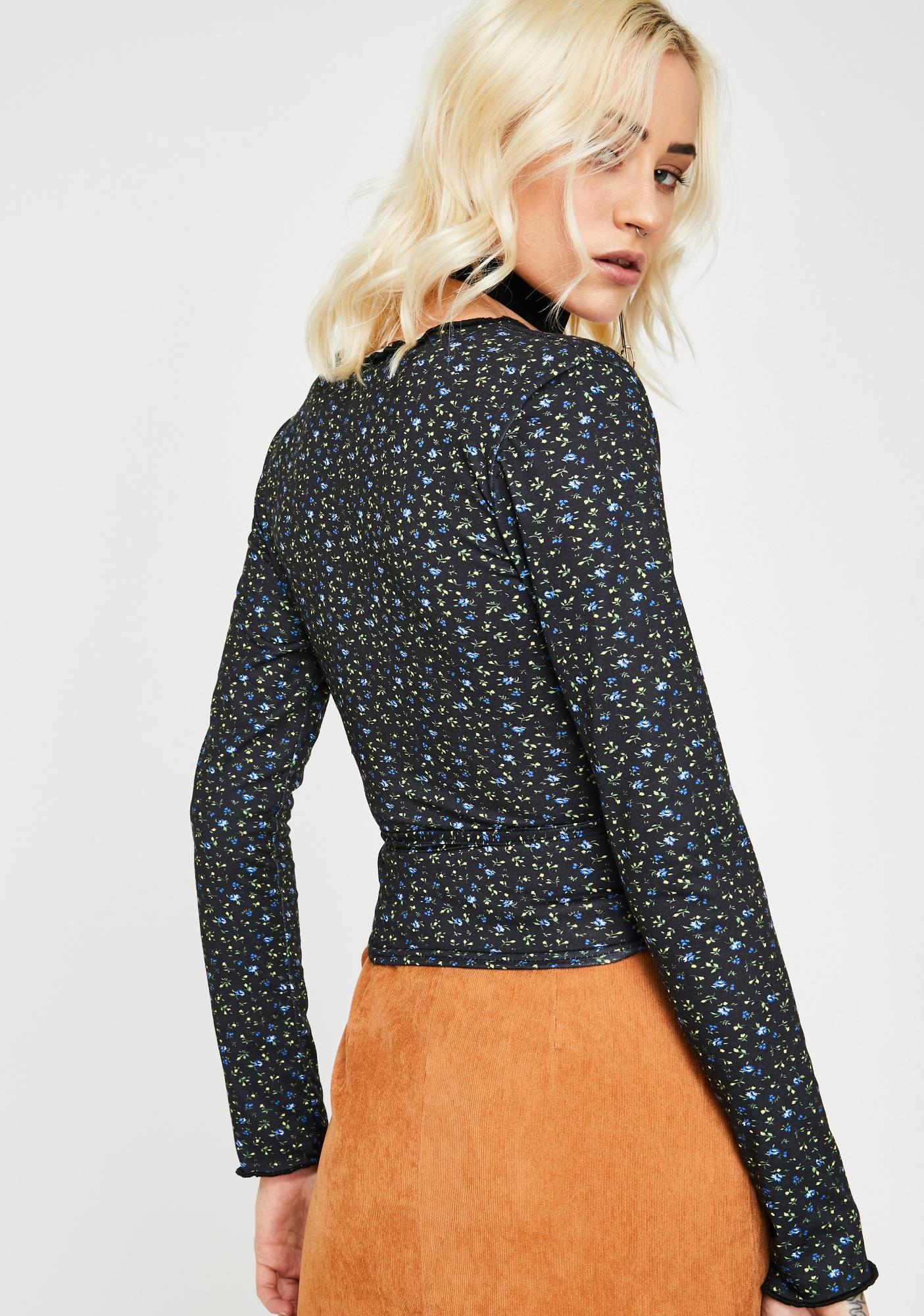 Daisy Street Wrap Front Floral Long Sleeve Top